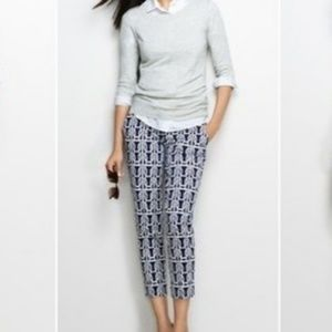 J.Crew Stretch Printed Skimmer Pant Blue and White